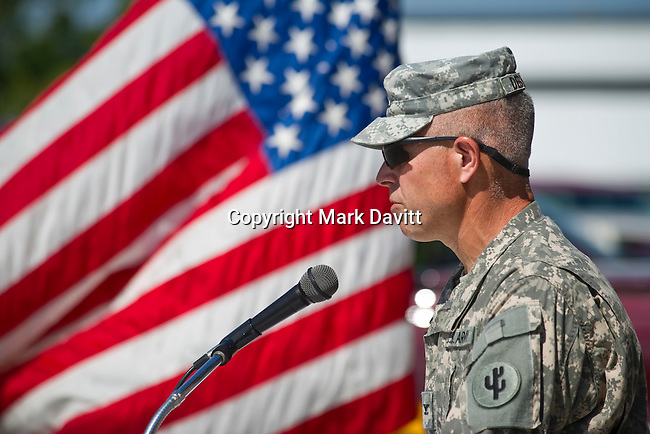 Arlan DeBlieck of Indianola spoke to the crowd during the Memorial Day service. DeBlieck spoke about the importance of decorating the nation on Memorial Day.