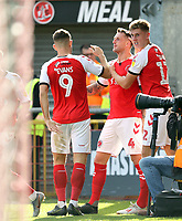 Fleetwood Town's Peter Clarke (Ctr) celebrates with team-mates after scoring his side's second goal <br /> <br /> Photographer Rich Linley/CameraSport<br /> <br /> The EFL Sky Bet League One - Fleetwood Town v Oxford United - Saturday 7th September 2019 - Highbury Stadium - Fleetwood<br /> <br /> World Copyright © 2019 CameraSport. All rights reserved. 43 Linden Ave. Countesthorpe. Leicester. England. LE8 5PG - Tel: +44 (0) 116 277 4147 - admin@camerasport.com - www.camerasport.com