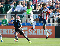 Santa Clara, California - Sunday May 13th, 2012: James Riley of Chivas USA controls the ball during a Major League Soccer match against San Jose Earthquakes at Buck Shaw Stadium