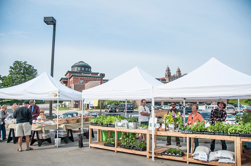 The weekly farmers market of Marquette, Michigan.