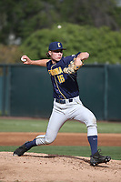 Joey Matulovich (16) of the California Bears pitches against the UCLA Bruins at Jackie Robinson Stadium on March 25, 2017 in Los Angeles, California. UCLA defeated California, 9-4. (Larry Goren/Four Seam Images)