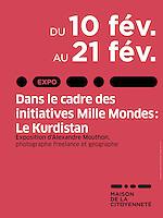 """Dans le cadre des initiatives Mille Mondes, La Ville de La Courneuve organise à la Maison de la Citoyenneté, une exposition photographique d'Alexandre Mouthon: """"Le Kudistan""""."""