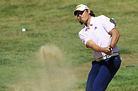 Gavin Green (MAS) chips from a bunker at the 5th green during Sunday's Final Round 4 of the 2018 Omega European Masters, held at the Golf Club Crans-Sur-Sierre, Crans Montana, Switzerland. 9th September 2018.<br /> Picture: Eoin Clarke | Golffile<br /> <br /> <br /> All photos usage must carry mandatory copyright credit (© Golffile | Eoin Clarke)