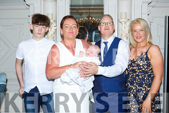 Mardia Buckley Killarney celebrated her christening with her parents Diarmuid and Mary and god parents Evan Fitzgerald-Buckley and Ann Marie O'Mahony at the Killarney Avenue Hotel on Sunday