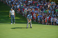 Phil Mickelson (USA) barely misses his putt on 15 during 1st round of the 100th PGA Championship at Bellerive Country Cllub, St. Louis, Missouri. 8/9/2018.<br /> Picture: Golffile | Ken Murray<br /> <br /> All photo usage must carry mandatory copyright credit (© Golffile | Ken Murray)