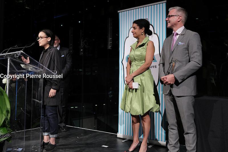 Chloe Robichaud, cineaste<br />   au Gala Phenicia de la Chambre de Commerce LGBT du Qu&eacute;bec, tenu au Parquet de la Caisse de Depots et Placements du Quebec, jeudi, 26 mai 2016.<br /> <br /> <br /> PHOTO : Pierre Roussel -  Agence Quebec Presse