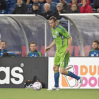 Seattle Sounders forward Nate Jaqua (21) looks to pass. In a Major League Soccer (MLS) match, the Seattle Sounders FC defeated the New England Revolution, 2-1, at Gillette Stadium on October 1, 2011.