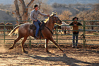 Nick Perez, grandson of Trail Horse Adventures co-owner, Richard Perez, breaks a horse at the family pastures.  Nick Statts leans against the railing at rear.