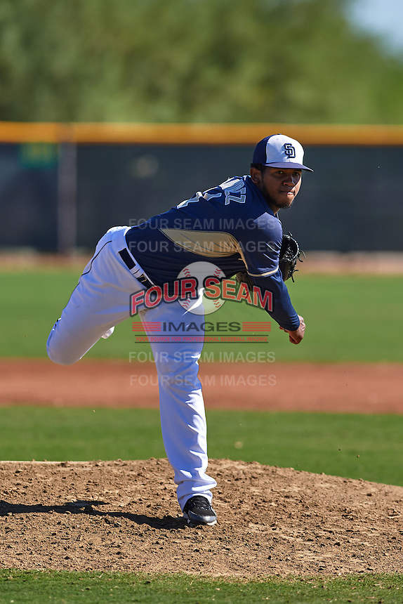 San Diego Padres pitcher Emmanuel Ramirez (11) during an instructional league game against the Texas Rangers on October 9, 2015 at the Surprise Stadium Training Complex in Surprise, Arizona.  (Mike Janes/Four Seam Images)