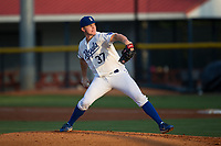 Burlington Royals starting pitcher Connor Mayes (37) in action against the Danville Braves at Burlington Athletic Stadium on August 14, 2017 in Burlington, North Carolina.  The Royals defeated the Braves 9-8 in 10 innings.  (Brian Westerholt/Four Seam Images)