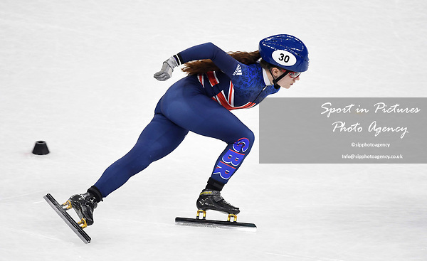 Kathryn Thompson (GBR). Short track. Gangneung ice arena. Pyeongchang2018 winter Olympics. Gangneung. Republic of Korea. 10/02/2018. ~ MANDATORY CREDIT Garry Bowden/SIPPA - NO UNAUTHORISED USE - +44 7837 394578