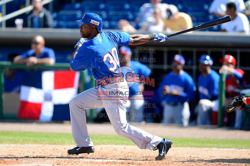 Dominican Republic outfielder Alejandro De Aza #30 during a Spring Training game against the Philadelphia Phillies at Bright House Field on March 5, 2013 in Clearwater, Florida.  The Dominican defeated Philadelphia 15-2.  (Mike Janes/Four Seam Images)