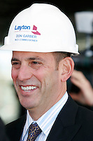 MLS Commissioner Don Garber at a press conference on May 2, 2008 at Real Salt Lake Stadium Site in Sandy, Utah