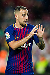 Francisco Alcacer Garcia, Paco Alcacer, of FC Barcelona (R) celebrates after scoring his goal during the La Liga 2017-18 match between FC Barcelona and Sevilla FC at Camp Nou on November 04 2017 in Barcelona, Spain. Photo by Vicens Gimenez / Power Sport Images