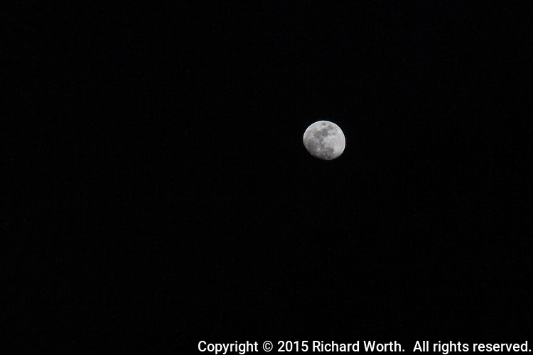 A gibbous moon, four days before it will be full and fall into earth's shadow during April 2015's lunar eclipse on April 4th.
