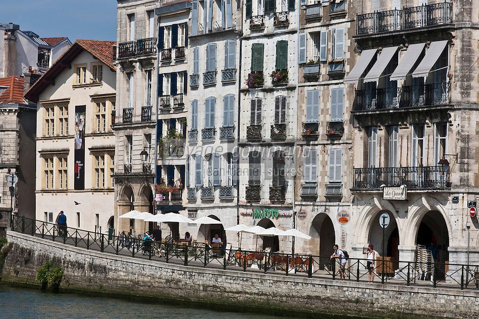 Europe/France/Aquitaine/64/Pyrénées-Atlantiques/Pays-Basque/Bayonne: Bords de la Nive , Maisons du Quai Galuperie et Maison dite de Dagourette ou Musée basque