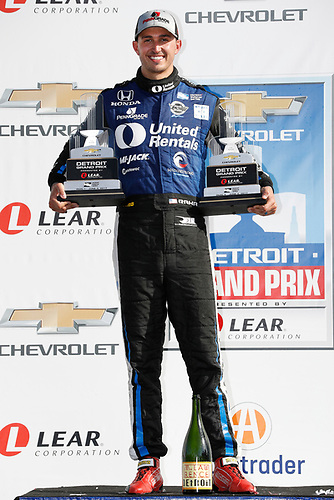 Verizon IndyCar Series<br /> Chevrolet Detroit Grand Prix Race 2<br /> Raceway at Belle Isle Park, Detroit, MI USA<br /> Sunday 4 June 2017<br /> Graham Rahal, Rahal Letterman Lanigan Racing Honda with both race winner trophies<br /> World Copyright: Michael L. Levitt<br /> LAT Images