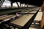 Irena Pieno (POL) crosses the Queensboro bridge from Queens into Manhattan in her handcycle wheelchair during the ING New York City Marathon in New York, New York on November 4, 2007.  Alejando Albor (USA) won the race with a time of 1:17:48.
