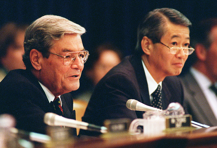 9-30-97.WAYS AND MEANS--Chairman Philip M. Crane,R-Ill.,ranking member Robert T. Matsui,D-Calif., during  the Ways and Means trade subcommittee hearing...CONGRESSIONAL QUARTERLY PHOTO BY DOUGLAS GRAHAM  .