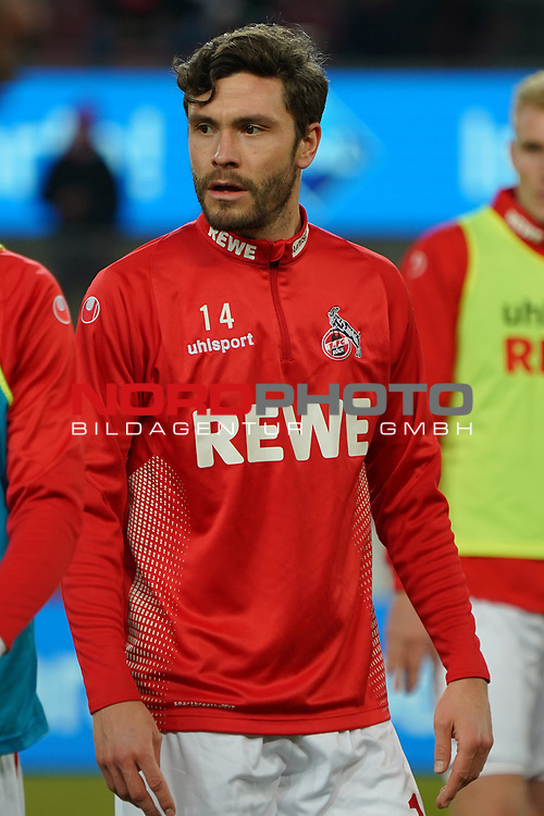 08.02.2019, RheinEnergieStadion, Koeln, GER, 2. FBL, 1.FC Koeln vs. FC St. Pauli,<br />  <br /> DFL regulations prohibit any use of photographs as image sequences and/or quasi-video<br /> <br /> im Bild / picture shows: <br /> Jonas Hector (FC Koeln #14),  beim Aufwaermen, Einzelaktion,  <br /> <br /> Foto © nordphoto / Meuter
