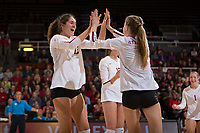 STANFORD, CA - November 15, 2017: Audriana Fitzmorris, Meghan McClure, Merete Lutz at Maples Pavilion. The Stanford Cardinal defeated USC 3-0 to claim the Pac-12 conference title.