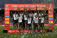 Fiji celebrate winning the cup final against South Africa on day two of the 2018 HSBC World Sevens Series Hamilton at FMG Stadium in Hamilton, New Zealand on Sunday, 4 February 2018. Photo: Shane Wenzlick / lintottphoto.co.nz