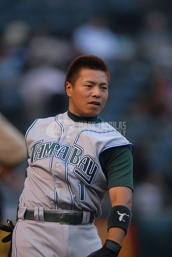 Jun 18, 2007; Phoenix, AZ, USA; Tampa Bay Devil Rays third baseman (1) Akinori Iwamura against the Arizona Diamondbacks at Chase Field. Mandatory Credit: Mark J. Rebilas