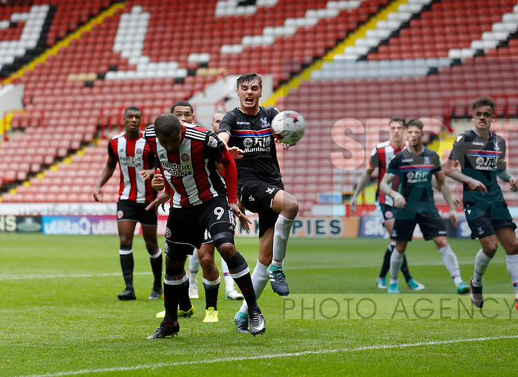 Leon Clarke of Sheffield Utd scores the winning goal during the Professional Development U23 match at Bramall Lane, Sheffield. Picture date 4th September 2017. Picture credit should read: John Taff/Sportimage