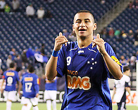 Cruzeiro forward Wellington Paulista (9) gives a thumbs up to the Brazillian media after scroing his third goal of the night.  Brazil's Cruzeiro beat the New England Revolution, 3-0 in a friendly match at Gillette Stadium on June 13, 2010