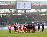 10.02.2018, Stadion an der Wuhlheide, Berlin, GER, 2.FBL, 1.FC UNION BERLIN  VS. Fortuna Duesseldorf, im Bild <br /> Unionspieper Jubel, jubelt, Freude, Glueck, gluecklich, positive Emotionen, vor der Anzeigetafel<br /> <br />      <br /> Foto &copy; nordphoto / Engler