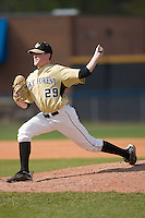 Relief pitcher Ryan Burke #29 of the Wake Forest Demon Deacons in action versus the Boston College Eagles at Wake Forest Baseball Park April 11, 2009 in Winston-Salem, NC. (Photo by Brian Westerholt / Four Seam Images)