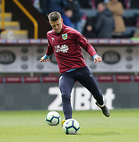 Burnley's Johann Gudmundsson during the pre-match warm-up <br /> <br /> Photographer Rich Linley/CameraSport<br /> <br /> The Premier League - Saturday 13th April 2019 - Burnley v Cardiff City - Turf Moor - Burnley<br /> <br /> World Copyright © 2019 CameraSport. All rights reserved. 43 Linden Ave. Countesthorpe. Leicester. England. LE8 5PG - Tel: +44 (0) 116 277 4147 - admin@camerasport.com - www.camerasport.com