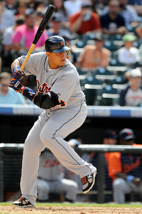 19 JUNE 2011: Detroit Tigers first baseman Miguel Cabrera (24) has his eye on the ball just before hitting an opposite field homerun    during a regular season interleage game between the Detroit Tigers and the Colorado Tigers beat the Rockies 9-1.   *****For Editorial Use Only*****
