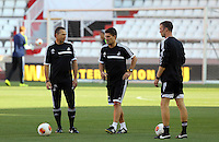 Valencia, Spain. Wednesday 18 September 2013<br /> Pictured L-R: Swansea scout Erik Larsen, manager Michael Laudrup and assistant manager Morten Wieghorst.<br /> Re: Swansea City FC training ahead of their UEFA Europa League game against Valencia C.F. at the Estadio Mestalla, Spain,