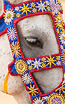 Eye Of Horse - Horse with decorative beadwork on bridle at Angkor Wat, Cambodia