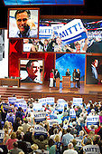 Floor demonstration after the vote for Mitt Romney as the Republican nominee for President of the United States at the 2012 Republican National Convention in Tampa Bay, Florida on Tuesday, August 28, 2012.  .Credit: Ron Sachs / CNP.(RESTRICTION: NO New York or New Jersey Newspapers or newspapers within a 75 mile radius of New York City)