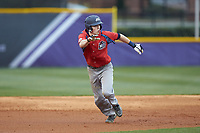 Matthew Cocciadiferro (8) of the NJIT Highlanders takes off for third base against the High Point Panthers at Williard Stadium on February 18, 2017 in High Point, North Carolina. The Highlanders defeated the Panthers 4-2 in game two of a double-header. (Brian Westerholt/Four Seam Images)