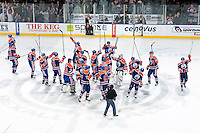 EDMONTON, AB - DECEMBER 10:  The Edmonton Oilers salute the crowd after a 4-3 shoot-out win over the Tampa Bay Lightning at Rexall Place on December 10, 2010 in Edmonton, Alberta, Canada. (Photo by Andy Devlin/NHLI via Getty Images) *** LOCAL CAPTION ***