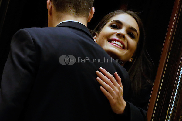 Hope Hicks, right, incoming White House strategic communications director embraces a Trump employee in the lobby of Trump Tower, in New York, New York, USA, 02 January 2017. <br /> Credit: Peter Foley / Pool via CNP /MediaPunch