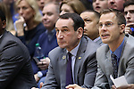 04 November 2016: Duke head coach Mike Krzyzewski (left) with assistant coach Jon Scheyer (right). The Duke University Blue Devils hosted the Augustana University Vikings at Cameron Indoor Stadium in Durham, North Carolina in a 2016-17 NCAA Division I Men's Basketball exhibition game.