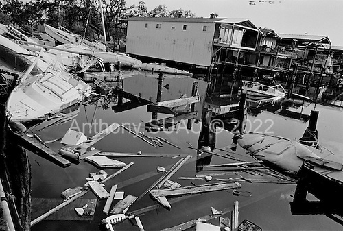 New Orleans, Louisiana.USA.August 1, 2006..One year ago hurricane Katrina breaking the levees and leaving 80% of the city flooded. This small boat port remains primarily untouched a year later.