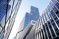 Nederland Amsterdam 2019. De Zuidas.  Rechts Vinoly, links de Ito toren. Foto Berlinda van Dam / Hollandse Hoogte