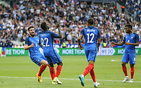 Celebrations as Samuel Umtiti (Barcelona) of France scores the equaliser during the International Friendly match between France and England at Stade de France, Paris, France on 13 June 2017. Photo by David Horn/PRiME Media Images.
