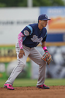 Corpus Christi Hooks shortstop Carlos Correa (1) on defense during the Texas League baseball game against the San Antonio Missions on May 10, 2015 at Nelson Wolff Stadium in San Antonio, Texas. The Missions defeated the Hooks 6-5. (Andrew Woolley/Four Seam Images)