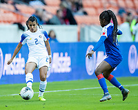 HOUSTON, TX - JANUARY 31: Gabriela Guillen #2 of Costa Rica advances the ball during a game between Haiti and Costa Rica at BBVA Stadium on January 31, 2020 in Houston, Texas.