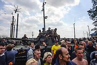 Ukrainian forces are being blocked by local citizens near Kramatorsk city during the anti-terrorist operation. Kramatorsk, Ukraine. April 8, 2014