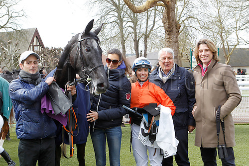 08.03.2016. Deauville, France.  3rd Race. De La Vie Claiming Stakes.  Kendannemarie with Marie Anne Bernadet wins the female jockey race with owners  Marine Henry and Nicolas Caullery