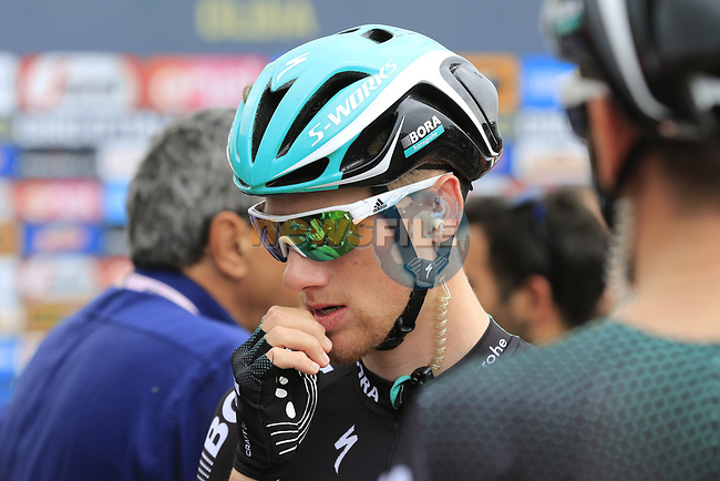Sam Bennett (IRL) Bora-Hansgrohe arrives at sign on before Stage 2 of the 100th edition of the Giro d'Italia 2017, running 221km from Olbia to Tortoli, Sardinia, Italy. 6th May 2017.<br /> Picture: Ann Clarke | Cyclefile<br /> <br /> <br /> All photos usage must carry mandatory copyright credit (&copy; Cyclefile | Ann Clarke)