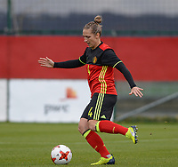 20171125 - TUBIZE , BELGIUM : Belgian Maud Coutereels pictured during the friendly female soccer game between the Belgian Red Flames and Russia , Saturday 25 th November 2017 at the Belgian FA Euro 2000 Center in Tubize , Belgium. PHOTO SPORTPIX.BE | DAVID CATRY
