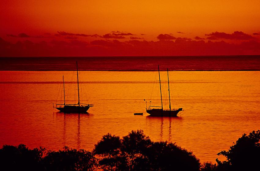 Sunset, Tahiti, French Polynesia